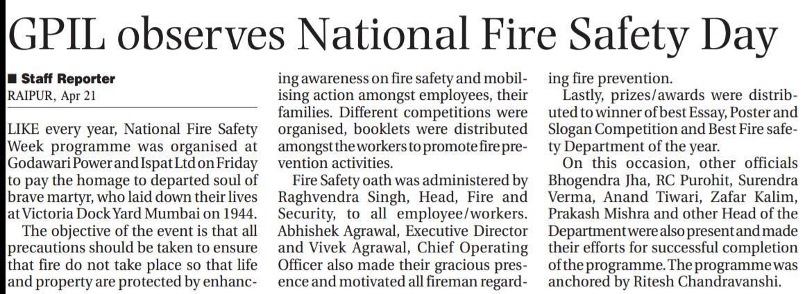 National Fire & Safety Day